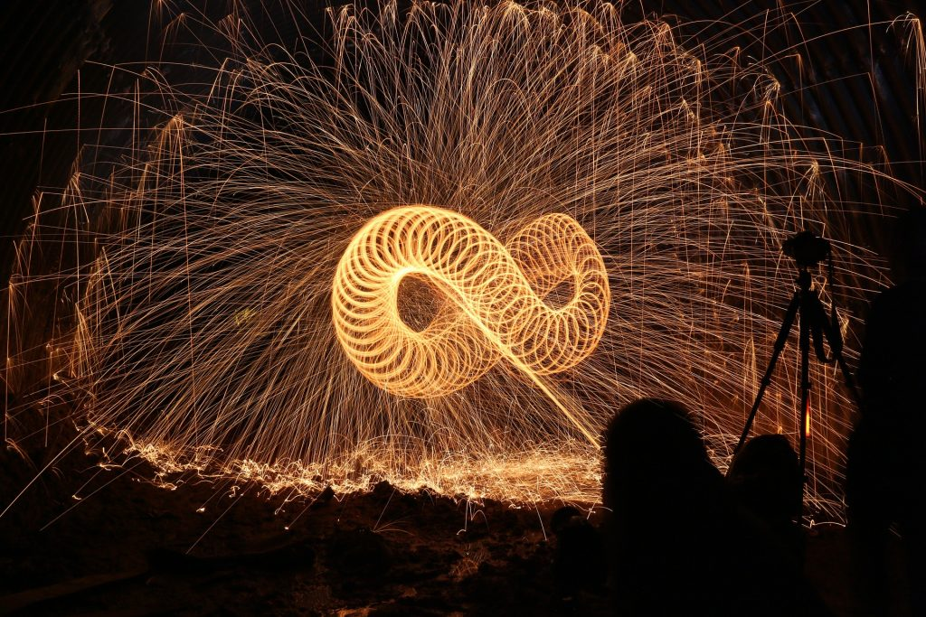 Long exposure photo of fire in a figure of eight pattern