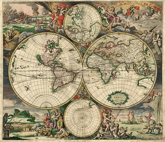 World map - Produced in Amsterdam 1689